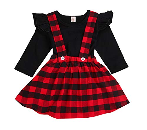 Cotton Plaid Skirt - Toddler Baby Girl Infant Plain T Shirts Plaid Overall Skirt Set Cotton Outfits (Black+red, 2-3 Years)
