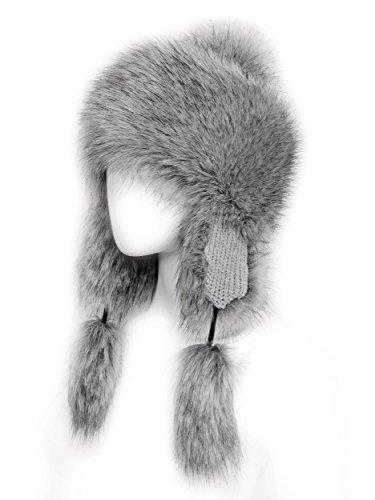 Fox Fur Aviator (Futrzane Faux Fox Fur Winter Trapper Hat Women Russian Style Hat (Silver))