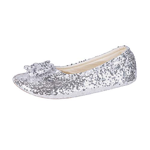 - Surblue Women's Ballerina Bing Metallic Shine Warm Indoor House Cozy Sequin Slippers/Shoes (M/7-8US, Silver)
