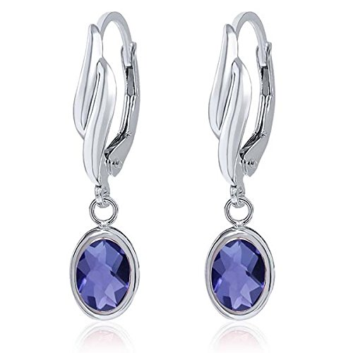 1.30 Ct Oval Checkerboard Blue Iolite 925 Sterling Silver Earrings