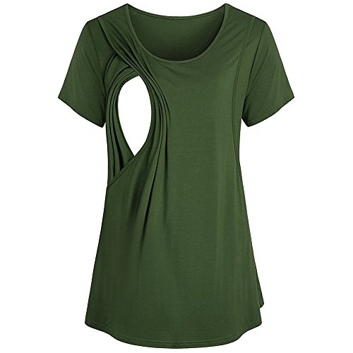 Clearance Sale! HIRIRI Women Maternity Nursing Breastfeeding Pregnant Short Sleeve Solid Shirt Top Blouse (S, Green)