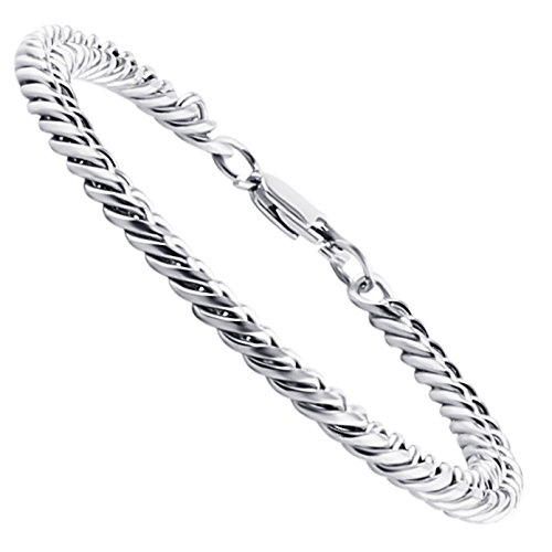 HZMAN Mens Heavy Thick Stainless Steel Silver Tone 7.5MM Wide Curb Link Chain Bracelets (Heavy Metal Chain)