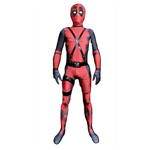 C2MOON 3D Kids Deadpool Costume Lycra Spandex Zentai Mask and Custome are separated (Girl Deadpool)
