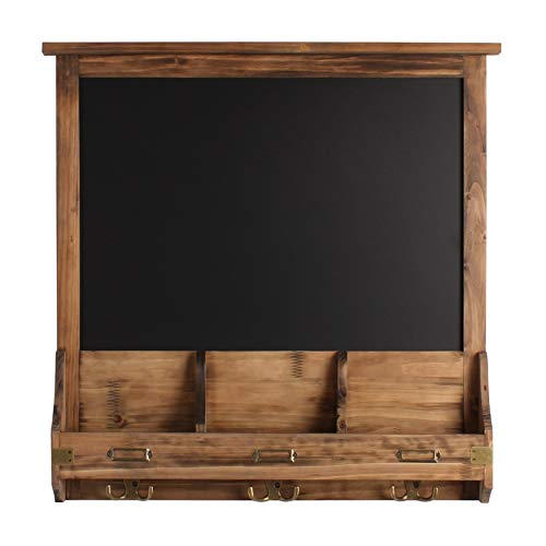 Stallard Decorative Rustic Wood Home Organizer with Chalkboard, Mail Pockets, and Key Hooks, Rustic Brown