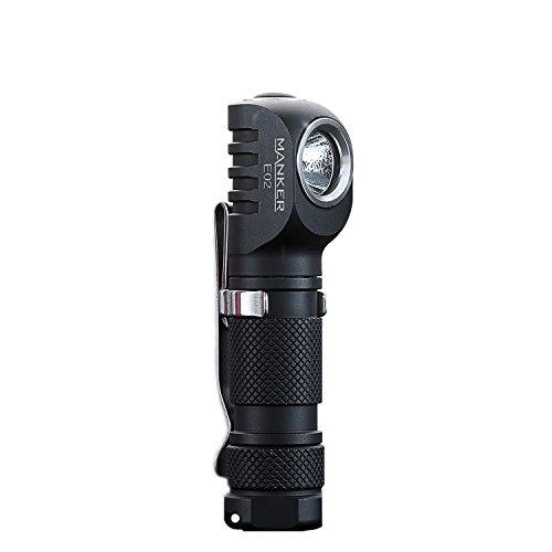 Choose Color Base (Manker E02 Best AAA Flashlight 220 Lumen Right Angle Keychain Light Mini EDC LED Flashlight with CREE XPG3, Reversible Clip & Magnet Base - Black Color)