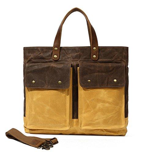3c8e4fe696 Partrisee Large Canvas Leather Vintage shoulder Crossbody Tote Messenger  Hand Purse Bag for Men Women-Coffee