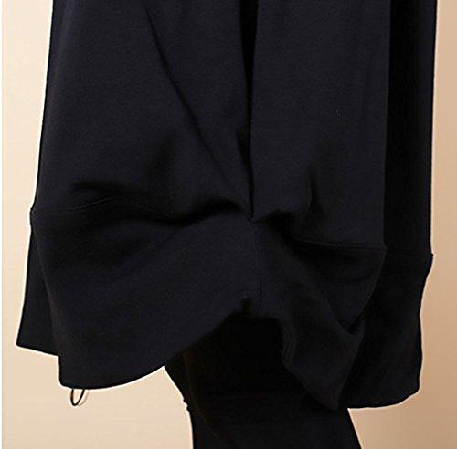 Donna Manica Giorno Lunga Moda Larghi Collo Hippie Maglietta Al Abito Nero Top Unita Invernali Eleganti Casual Vestiti Ginocchio Tinta Autunno Rotondo Irregolare Vestito Da AIxfdAq1