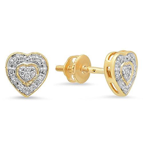 Dazzlingrock Collection 0.10 Carat (ctw) 10K Round Diamond Ladies Heart Shape Earrings 1/10 CT, Yellow - Heart Earring Fancy Shape