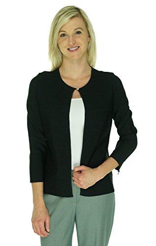 Calvin Klein Women's Solid Stripe Jacket (PS, Black)