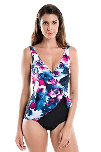 DELIMIRA Women's One Piece Waist Minimizer V-Neck Swimwear Beachwear Swimsuit Multicoloured #2 US 18