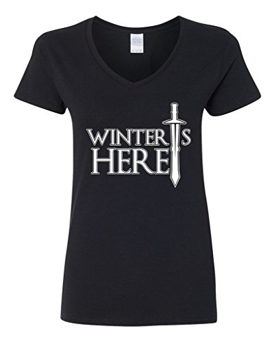 V-Neck Ladies Winter is Here Sword TV Parody Funny DT T-Shirt Tee (X-Large, Black)