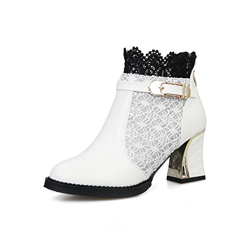 Allhqfashion Women's PU Blend Material Kitten-Heels Boots with Metal Heels White DGZdJ