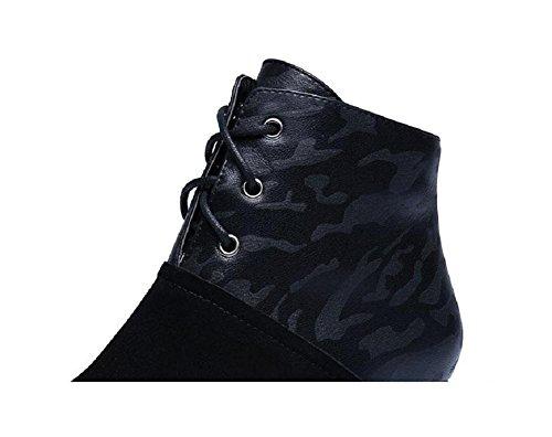 Vera metà pizzo tacco scarpe da donna stivali Martin Casual scrub pelle , 37
