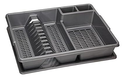 Escurridor de platos grande para cubiertos, con portaplatos para cocina, con bandeja de goteo