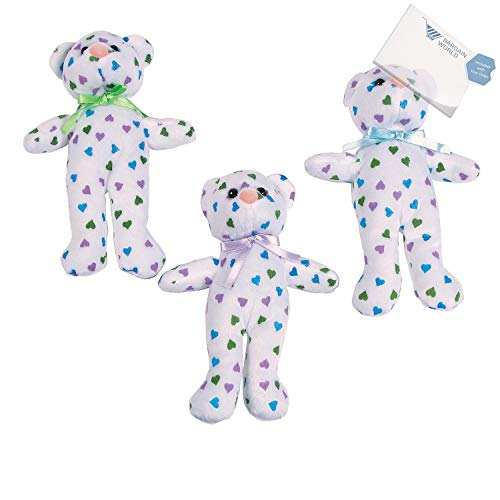Bargain World Stuffed Teddy Bears with Pastel Hearts (With Sticky Notes)