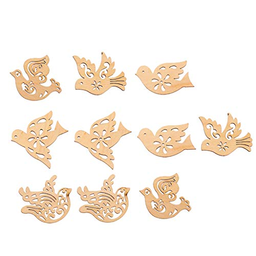 Fityle 10 Pieces Cut Wood Birds Unfinished Wooden Birds MDF Cutout Shapes Embellishment, Wood Craft Slices for DIY Scrapbooking Card Making Decorations Props
