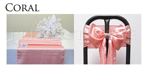 Perfectmaze Satin Party Combo Kit (10 Table Runner / 50 Chair Sash Bow) for Wedding Party Event Decoration 20 Colors+ (Coral)