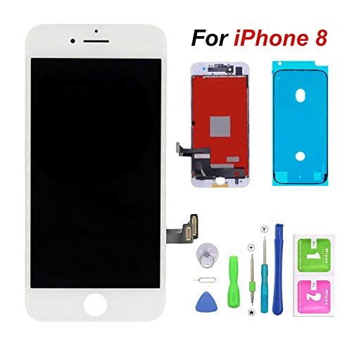 FFtopu Compatible with iPhone 8 Screen Replacement White,FFtopu LCD Digitizer Touch Screen Assembly Set with 3D Touch, Repair Tools