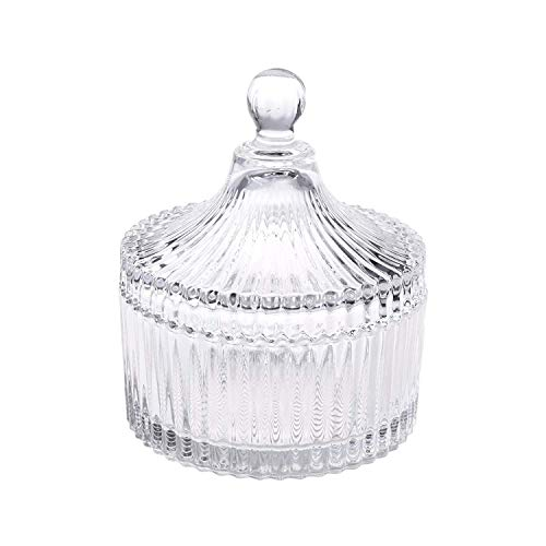 (Glass Candy Dish Crystal Castle Style With Lid - Storage Jar - Sugar Bowl - Vintage Style - 4