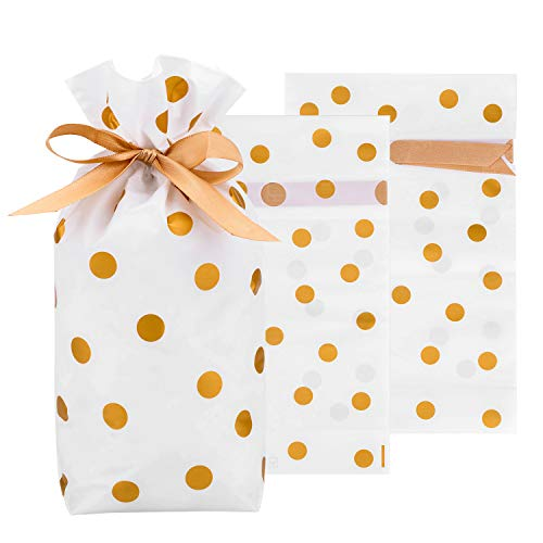 Drawstring Treat Bags 50 Pack, HOMARTY Wedding Party Favor Bag 9×6 inch Gift Wrapper Bags for Xmas, New Year, Festival Holiday(Gold Polka Dot)
