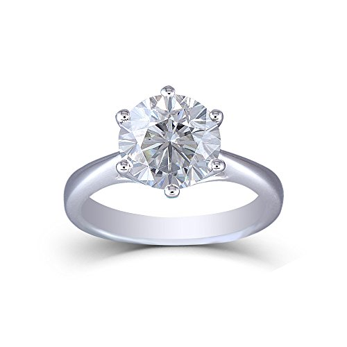 DOVEGGS Platinum Plated Silver 3CTW 2.8mm Band Width 9mm Round Brilliant Moissanite Engagement Rings for Women (7)