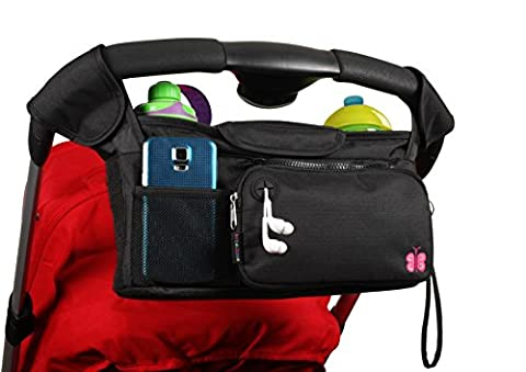BEST STROLLER ORGANIZER for Smart Moms, Fits All Strollers, 3 Premium Deep Cup Holders - Extra-Large Storage Space for iPhones, Wallets, Diapers, Books, Toys & iPads, The Perfect Baby Shower Gift!