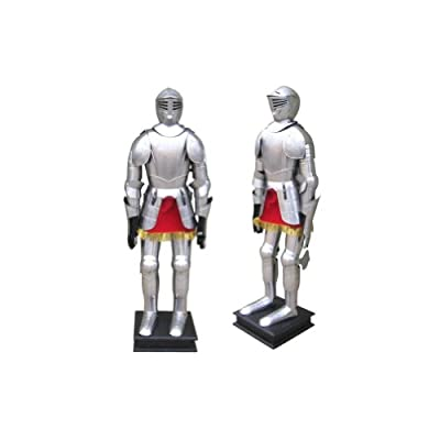 Armor Venue Full Suit of Armor with stand, Etched One Size Fit All - Silver