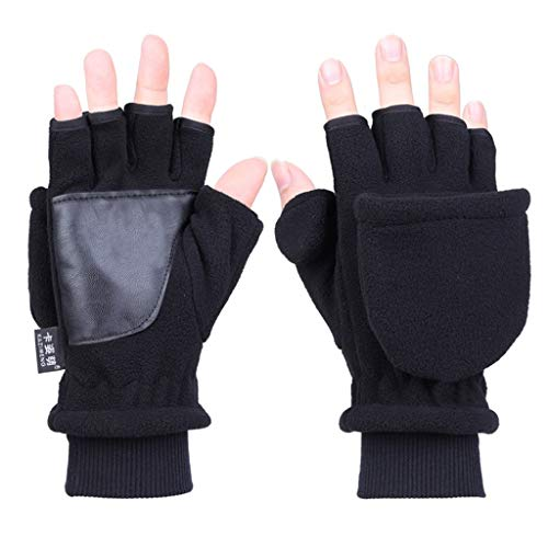 Sixinu Women Men Winter Polar Fleece Half Finger Flip Gloves Double Layer Thicken Touch Screen Fingerless Convertible Mittens Wrist Warmer with Cover
