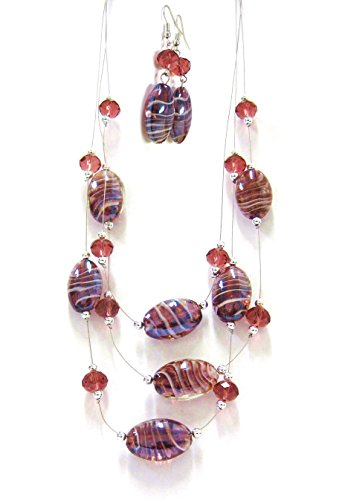Necklace & Earrings Jewelry Set / Mauve, Gold Glittered Swirl Lampwork & Crystal Beads / Necklace Length 21