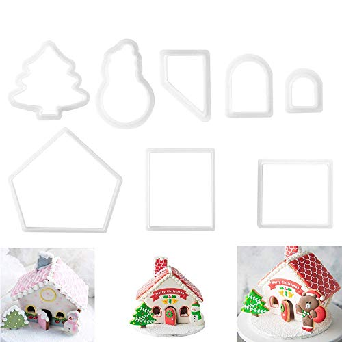 Miniature Gingerbread Houses - (Set of 8) 3D Gingerbread Mini House Cookie Cutter Sets Plastic Biscuit Baking Molds Bake Chocolate Decoration Kits