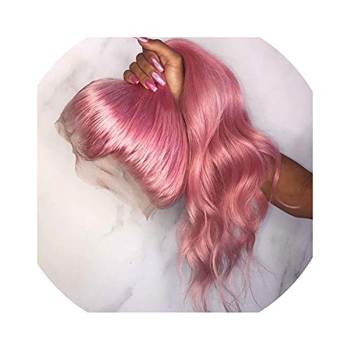 Pink Color Lace Front Human Hair Wigs 150% Density Remy Hair Body Wave Glueless Lace Wigs With Baby Hair,24Inches,150%]()
