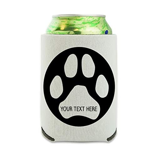 Personalized Custom Paw Print 1 Line Can Cooler - Drink Sleeve Hugger Collapsible Insulator - Beverage Insulated Holder |