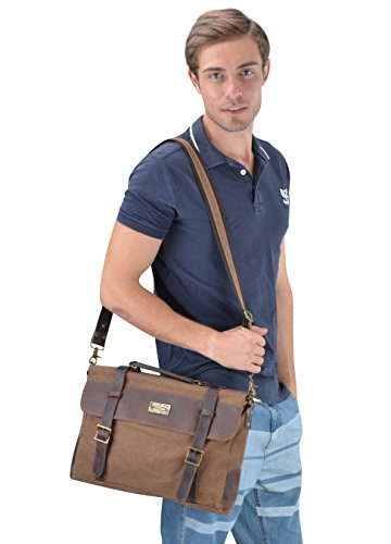 Messenger Bag Coffee Coffee cm 38 Vintage Leather Gootium Shoulder Laptop Canvas qnXwFYzv
