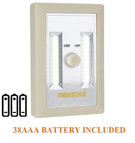 [New Arrival] Dimmable Battery Included COB LED Cordless Switch Light, Adjustable Brightness, Emergency LED Light, LED Night Light, 200 Lumen, 3 AAA Batteries & Adhesive Strips Included, Cream