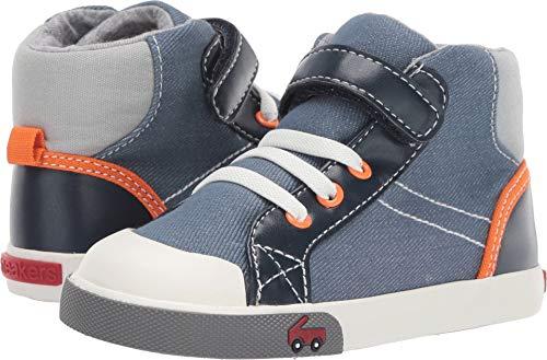 See Kai Run Boy's Dane Sneaker, Blue/Orange, 7 M US Toddler