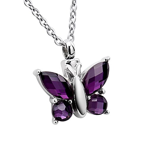 SG Cremation Urn Jewelry Rhinestone Butterfly Pendant for Ashes Necklace Memorial Keepsake ()