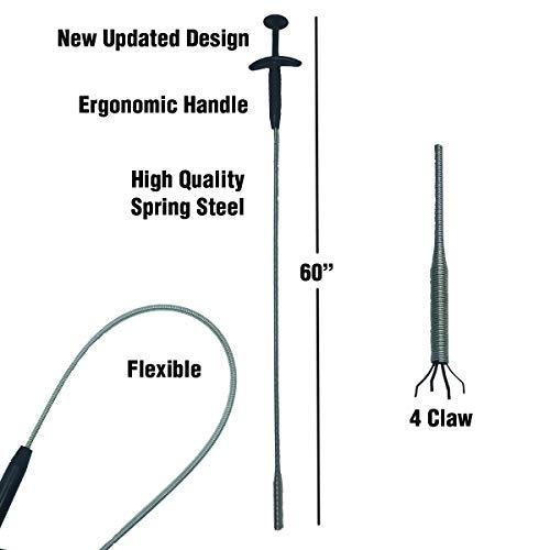 PF WaterWorks PF0408 GrabEASY 60 Ergonomic Handle, Flexible, 4 Claw Pick-Up Tool, Jewelry Retriever, Clog Remover, Drain Snake, Chrome