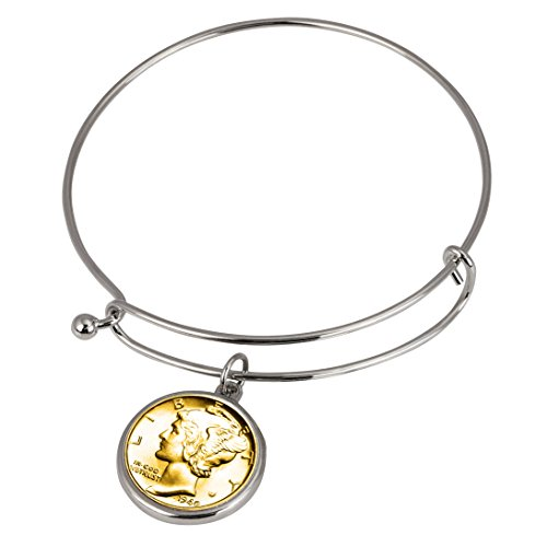 Gold-Layered Silver Mercury Dime Silver Tone Coin Bangle - Gold Cameo Slide Bracelet