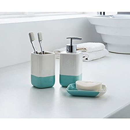 aqua coloured bathroom accessories. 3 Piece Ceramic White Colour Dipped Bathroom Accessory Set  Soap Dish Dispenser