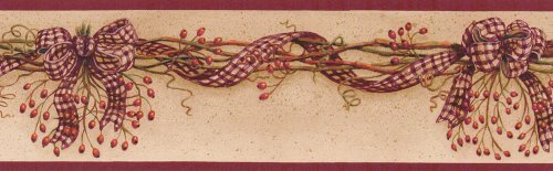 Rosehip Red Country Check Garland Wallpaper Border by Blonder Home