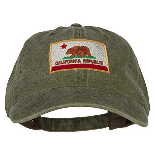 (e4Hats.com California State Flag Embroidered Washed Cotton Twill Cap - Olive OSFM)