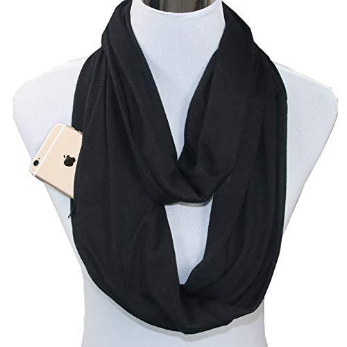 Womens Soft Blanket Scarf Stylish Cozy Tartan Scarves Warm Wrap Shawl Infinity Scarves Zipper Pocket (Black, Free Size :70.8X19.6 inch)