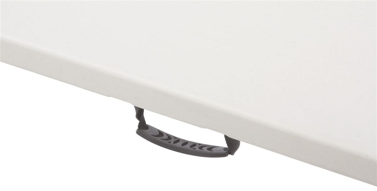 Displays2go 8-Feet Molded Plastic Top Portable Folding Table with Comfort Handle Grip, 29.25-Inch, Gray