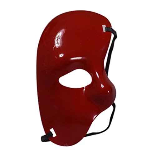 Unisex Halloween Masquerade Half Mask , Cywulin Plastic Cutout Pretty Party Evening Prom Mystery Mask Accessories (Red) - Crazy Masks For Sale