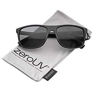 zeroUV - Modern Casual Lifestyle Flat Top Rectangle Lens Horn Rimmed Sunglasses 56mm (Shiny Black/Smoke)