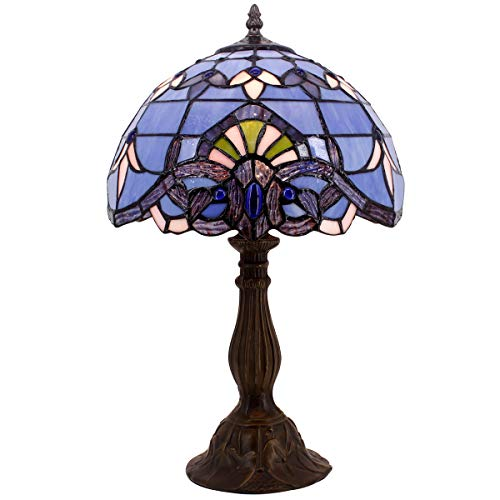 Stained Table Lamp Glass Glass (Blue Purple Baroque Tiffany Style Table Lamps Lighting W12H18 Inch Stained Glass Lampshade Antique Base for Living Room Bedroom Bedside Desk Lamp)