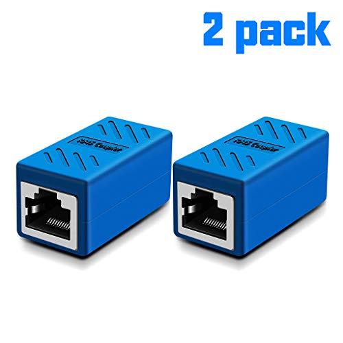 (Ethernet Cable Extender,RJ45 Coupler, in-Line Coupler for Cat7/Cat6/Cat5e/cat5 Ethernet Cable Extender Connector - Ethernet Coupler Female to Female (Blue-2 Pack))