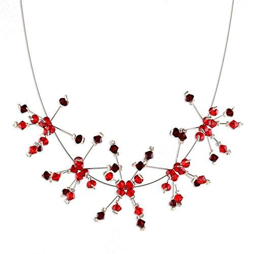 UPC 808773051843, NOVICA Stainless Steel Beaded Necklace 'Scarlet Stars'