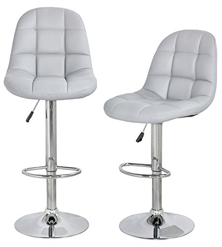 xLowest PricexMerax Best Selling Swivel Air Lift Adjustable Caf Bar Stools Dinning Chairs with Luxurious Pu Leather Light Grey Set of 2