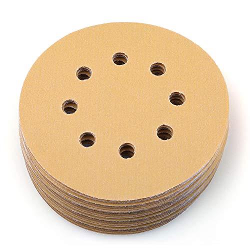 Sanding Disc, 5 Inch 8 Hole 320 Grit Dustless Hook and Loop Sandpaper, Random Orbital Sander Round Paper by LotFancy, Pack of 100
